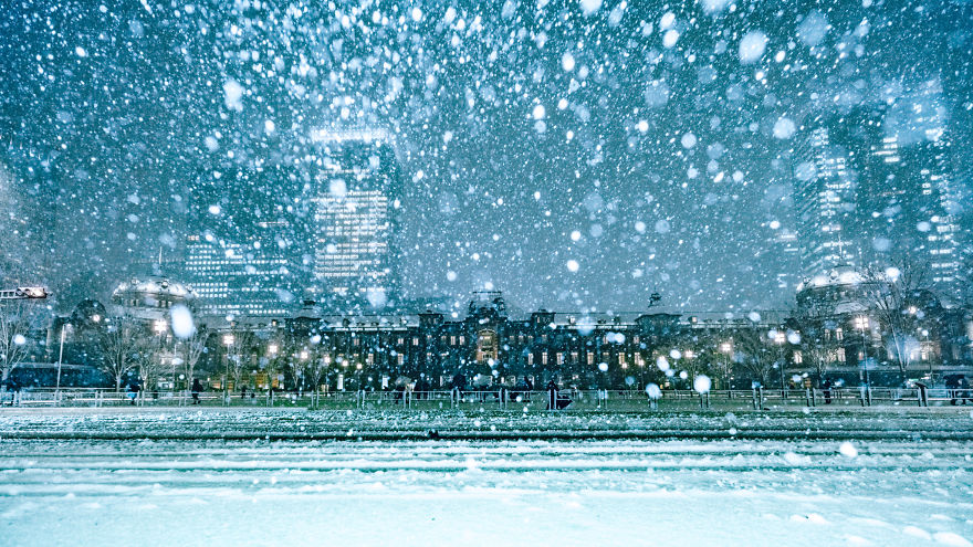 Snow Covered Tokyo Station