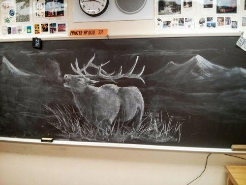 Рисунки учителя рисования на доске (7 фото)