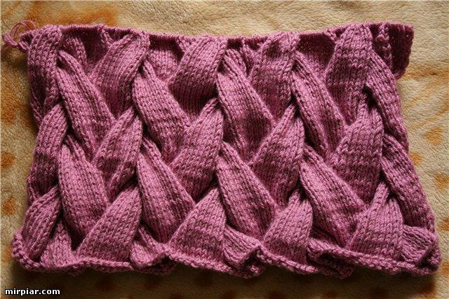 Сумка спицами узор плетенка