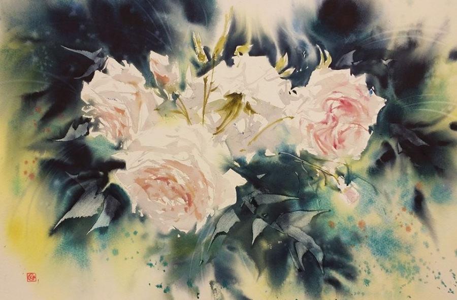 Все роскошество летних цветов в акварелях художника Стерхова Константина