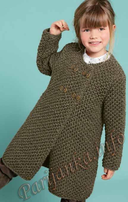 пальто для девочки с двубортной застежкой