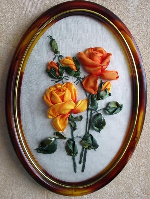 Розы вышивка лентами
