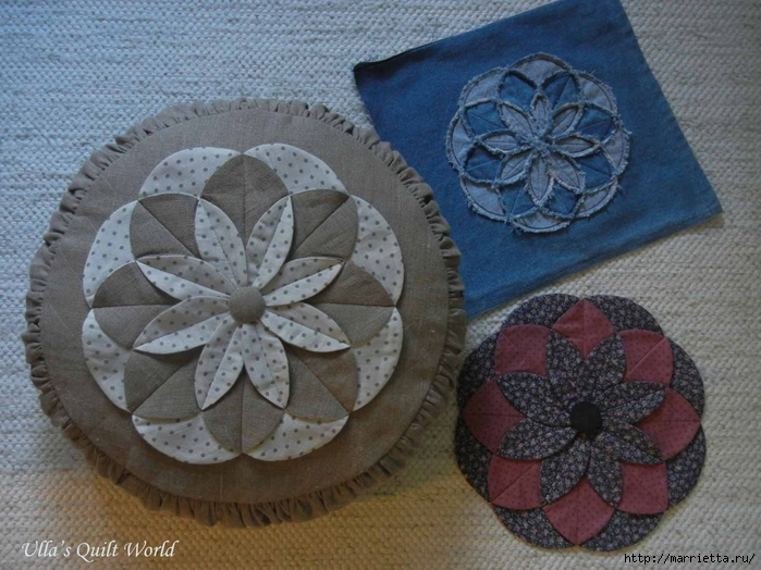 Декоративная подушка своими руками с цветком