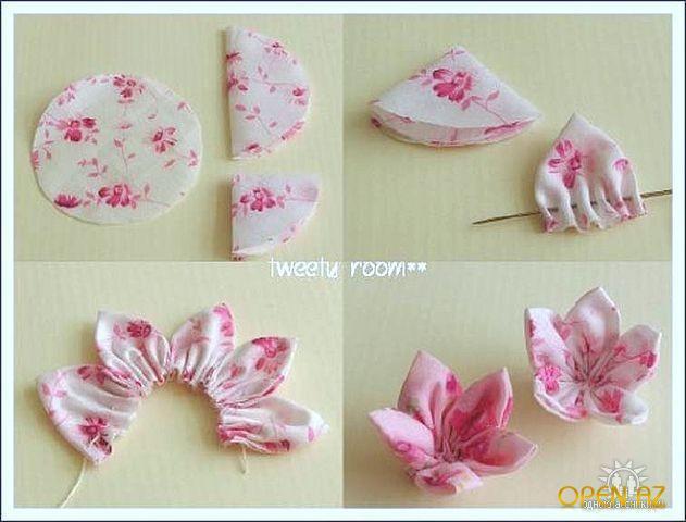Как сделать цветок из ткани своими руками для платья