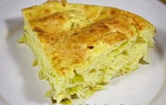 Пирог из жидкого теста с капустой