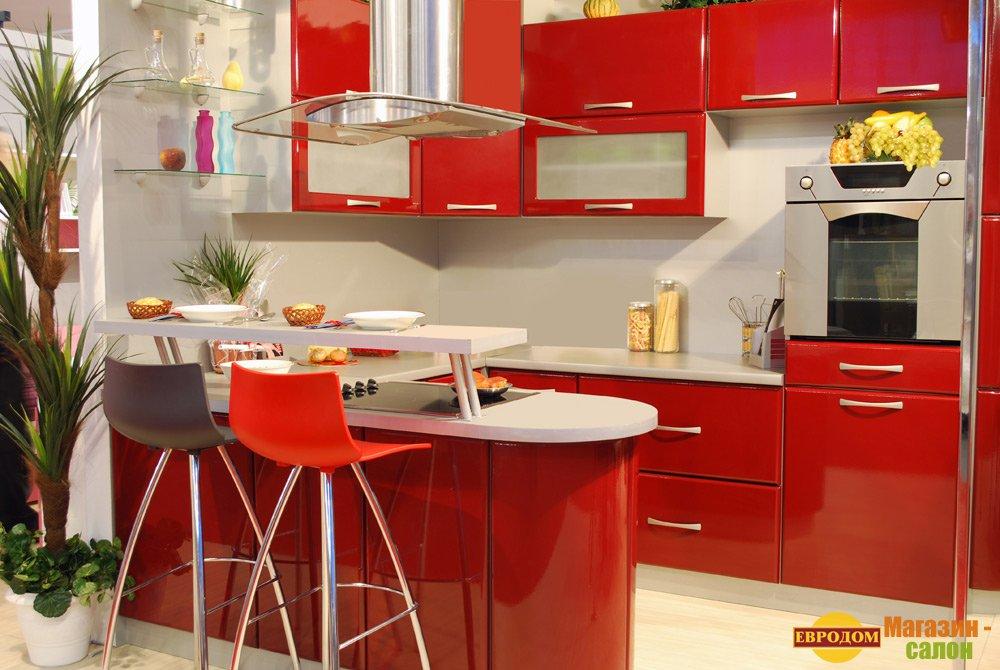 Красная кухня фото в интерьере