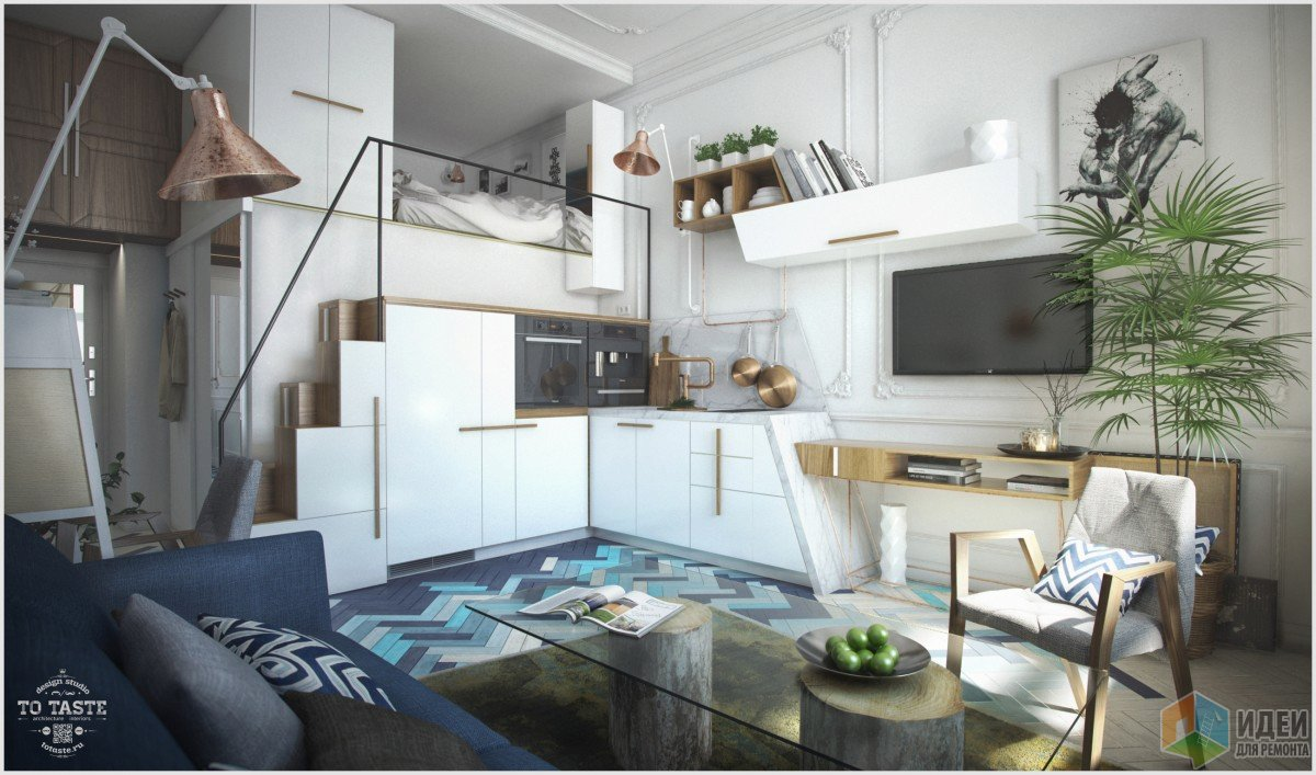 Интерьер кухни-гостиной, двухуровневая квартира