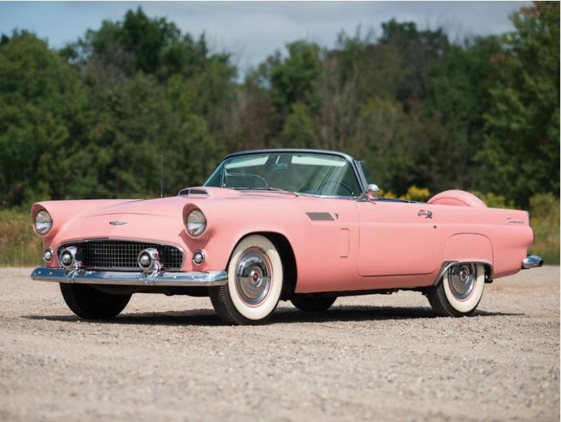 3. Оригинальный розовый дамский автомобилей: Ford Thunderbird 1956 года Hershey Motor Lodge, аукцион, олдтаймер, продажа авто
