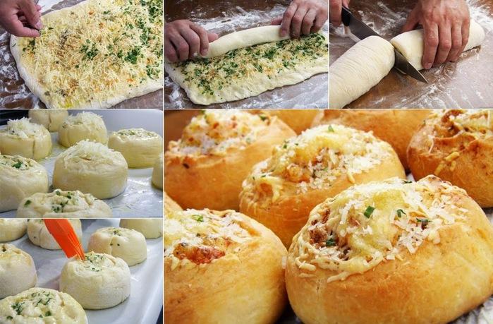 Булочки-роллы с сыром и чесноком