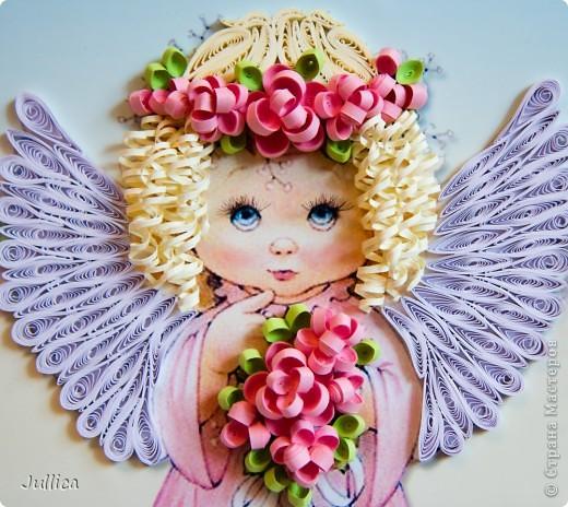 Картина, панно Квиллинг: Ангелочки Бумажные полосы День рождения. Фото 6