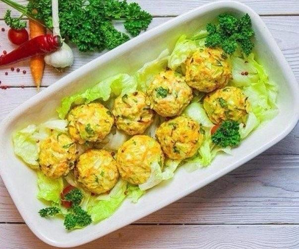 Диетический ужин: овощные шаpики с курицей