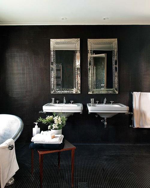 Черная мозаика в ванной фото