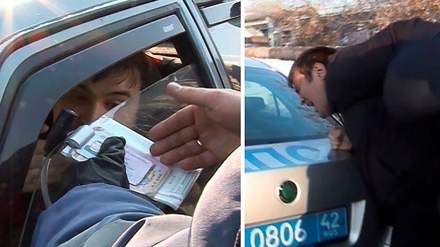 В Кемерово водитель протащил инспектора несколько метров