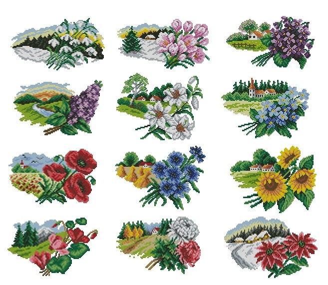Цветочный календарь для вышивки