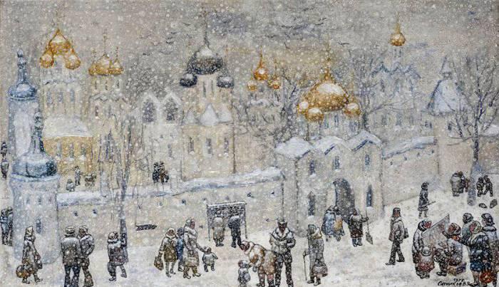 На картинах Ситникова почти всегда снег.