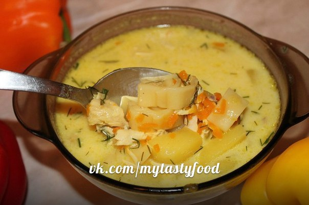 Сырный суп с курицей в мультиварке рецепт с фото