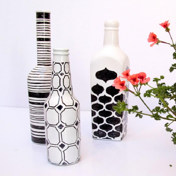 Сделать из вазу из стеклянной бутылки своими руками