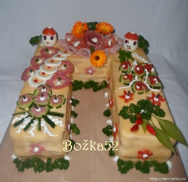 Соленый закусочный торт. Идеи оформления к ПАСХЕ (53) (620x600, 151Kb)