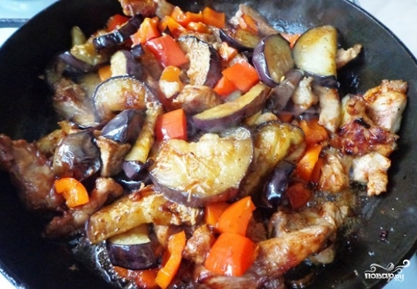 Мясо с баклажанами по-китайски пошагово