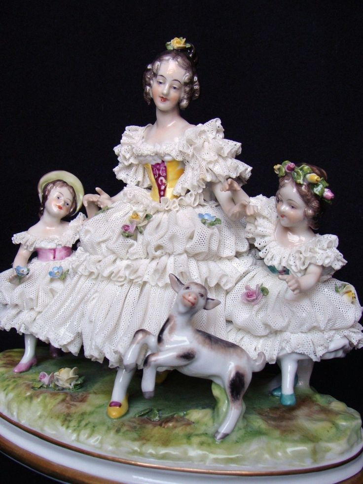 Nice German Dresden Porcelaine Lace Figurine Mother with Children and Lamb | eBay