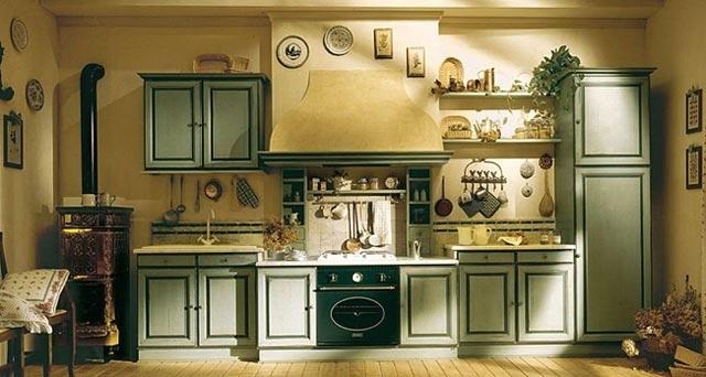Немного не традиционный цвет для кухни в стиле прованс, но зато со всеми атрибутами