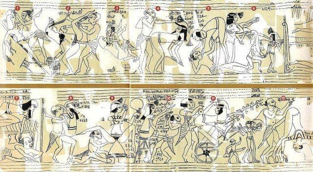 Для тех, кто в лом ходить по ссылкам - прорисовка туринского эроотического папируса. и да, мужик плешивый - можете убедиться. ; ) картинка кликабельна. древний египет, интересно, история