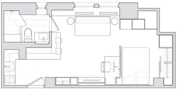 Дизайн проект квартиры 40 кв м - схема комнат