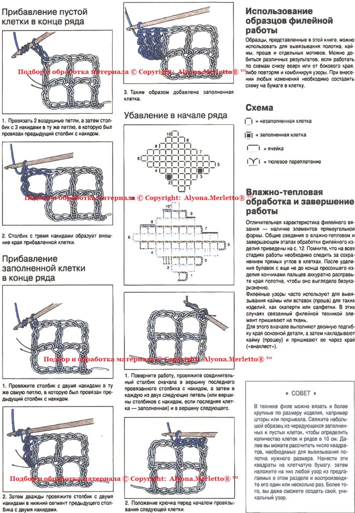 Филейное вязание крючком. Бесплатные схемы в филейной технике