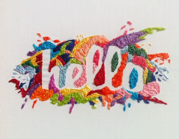 Embroidered lettering by Fallon Horstmann, via Behance: