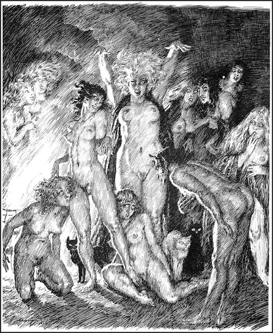 Прелестные нимфы, козлоногие обольстители и демоны в картинах Нормана Линдсея 31