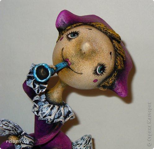 Куклы 1 апреля Папье-маше Пульчинелла верхом на гусе Бумага фото 2