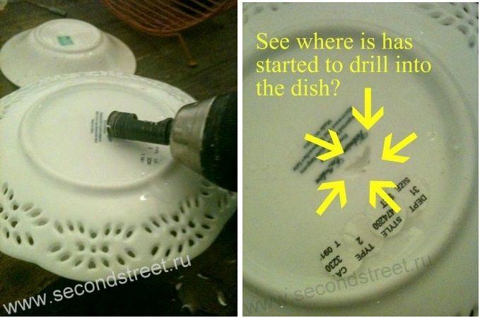 как просверлить отверстие в керамической посуде