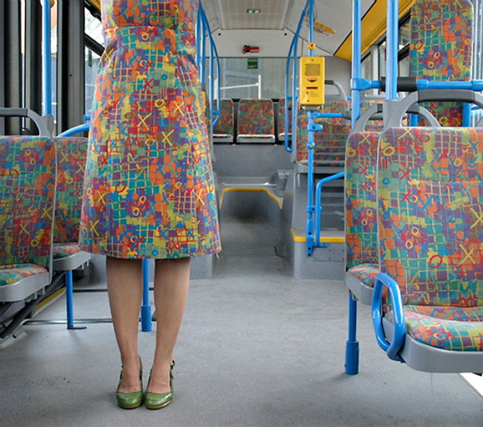 This Woman's Dress Looks Like Bus Seats