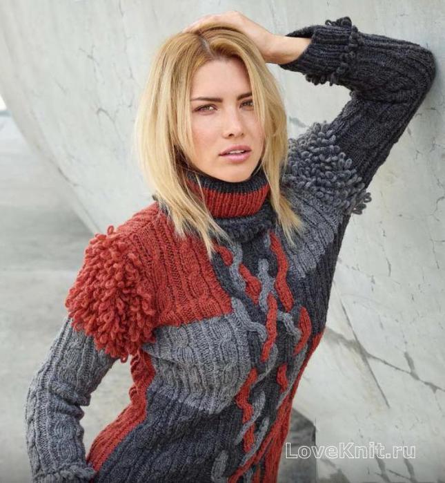 ПЕТЕЛЬКА К ПЕТЕЛЬКЕ. Пуловер с косами и вытянутыми петлями