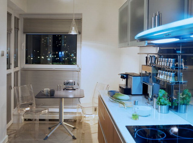 Оригинальный интерьер маленькой кухни