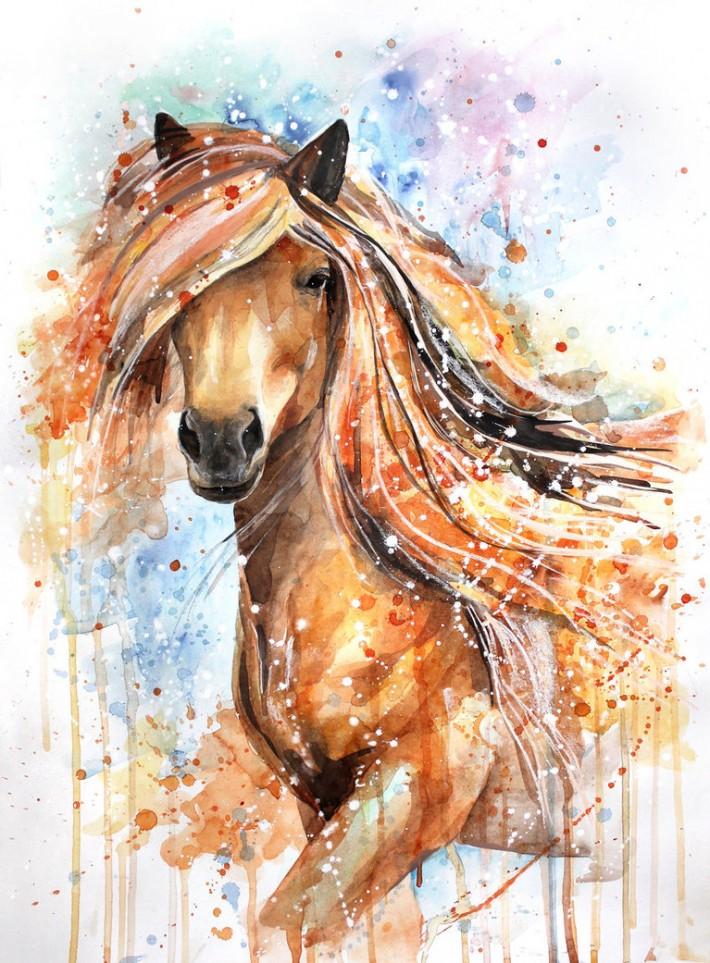Лошади в акварельных рисунка…