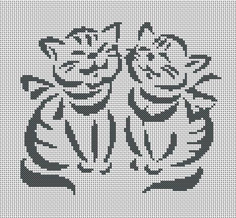 Вышивка крест черно-белые коты
