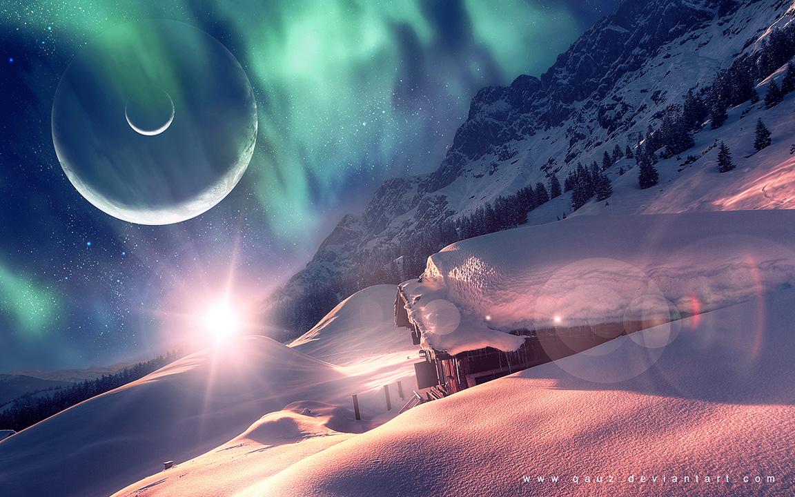 Обои для рабочего стола космос зима