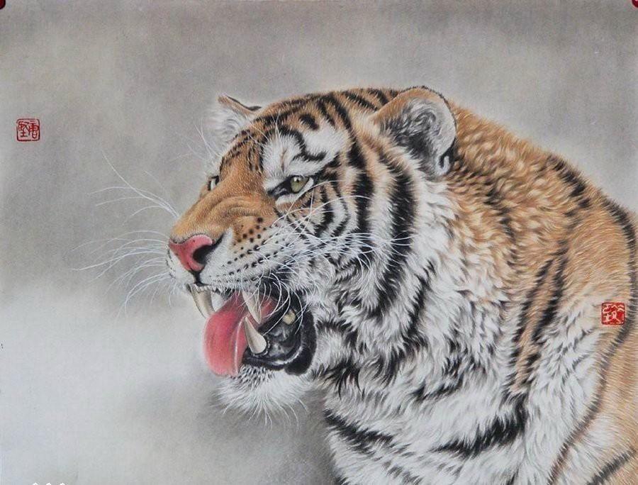 Животные в картинах в технике гохуа от художника Tang Jiang  животные, как живые, картины гохуа