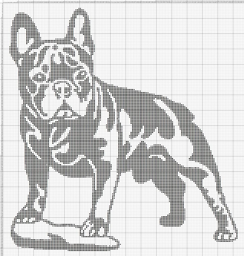 Схемы вышивки монохром собак