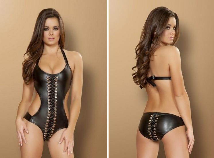 Кожаный монокини Black Faux Leather Lace Up Monokini Swimsuit девушки, купальник, лето, мода