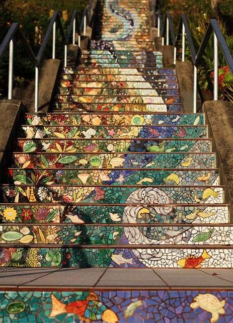 Лестница - мозаика в Сан - Франциско