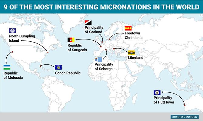 9 самых странных самопровозглашенных государств на карте мира