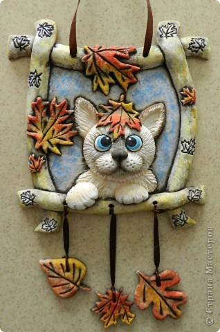 Панно с котиком из мукосольки. Мастер-класс