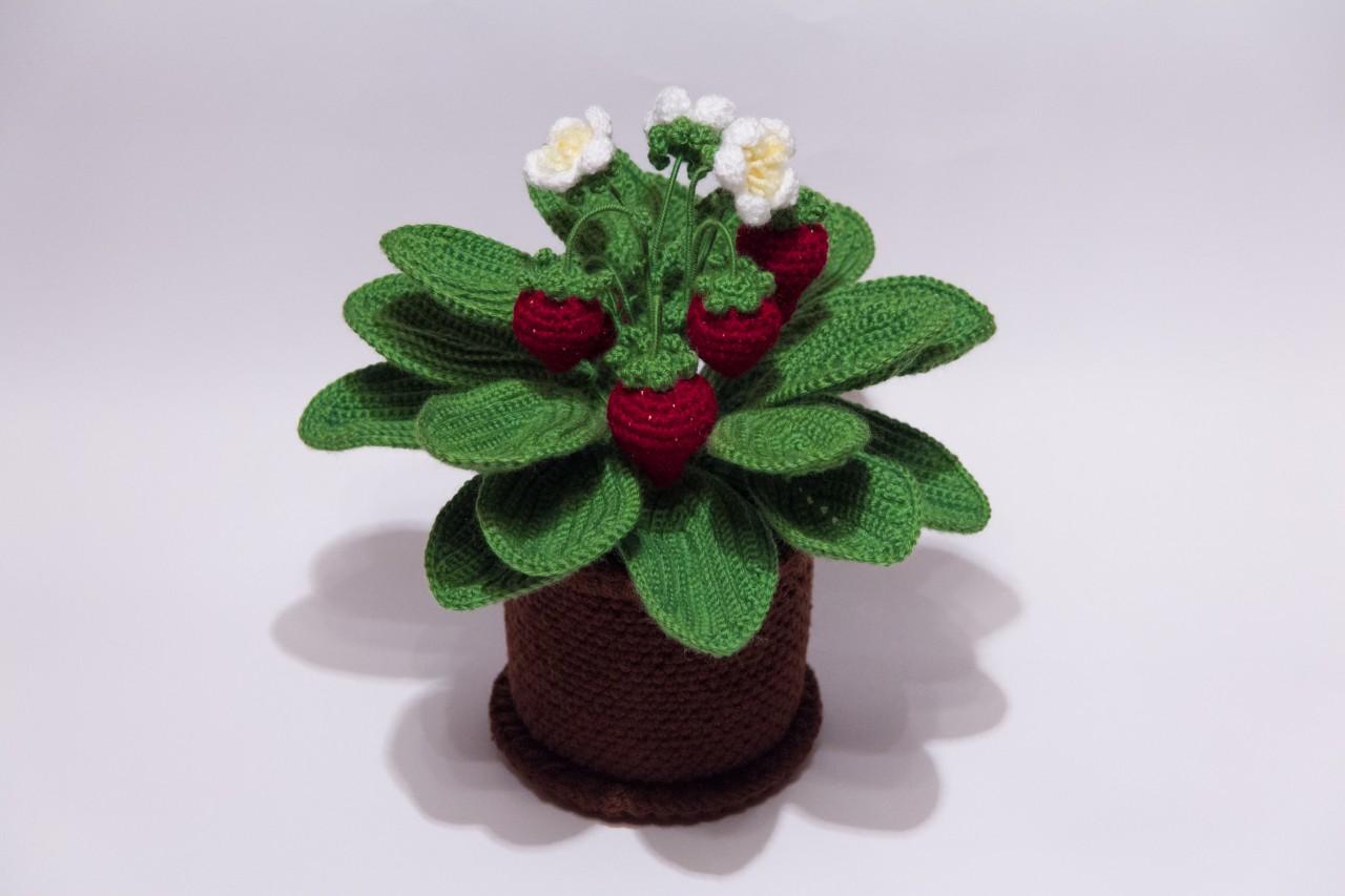 Вязаные крючком цветы в горшках фото