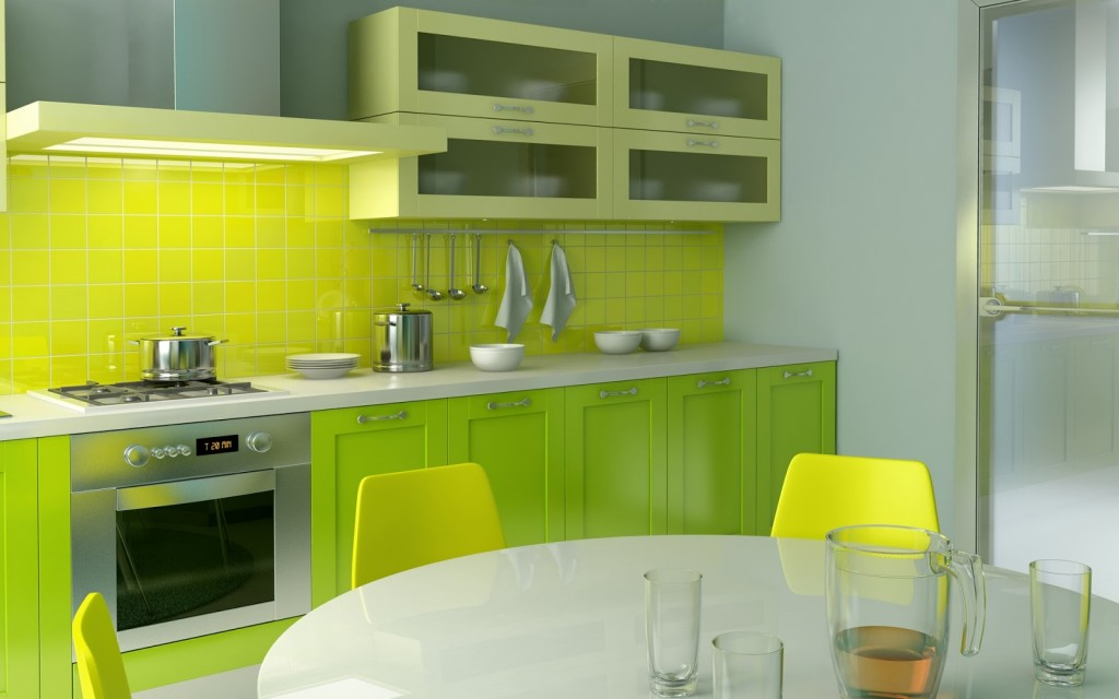 kitchen green and white minimalist Minimalist Kitchen With Bright Colors Accents 1024x640 Дизайн фасадов кухонных шкафов 60 фото