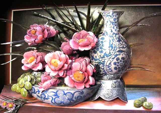 Объемный декупаж -цветы и ваза