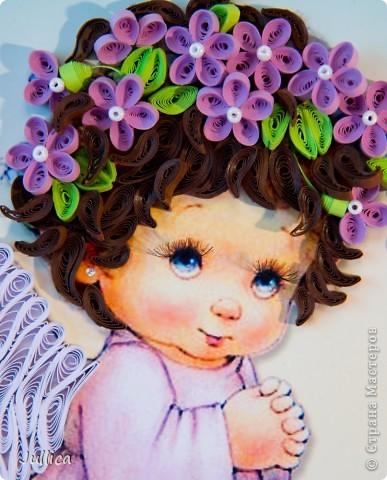 Картина, панно Квиллинг: Ангелочки Бумажные полосы День рождения. Фото 7