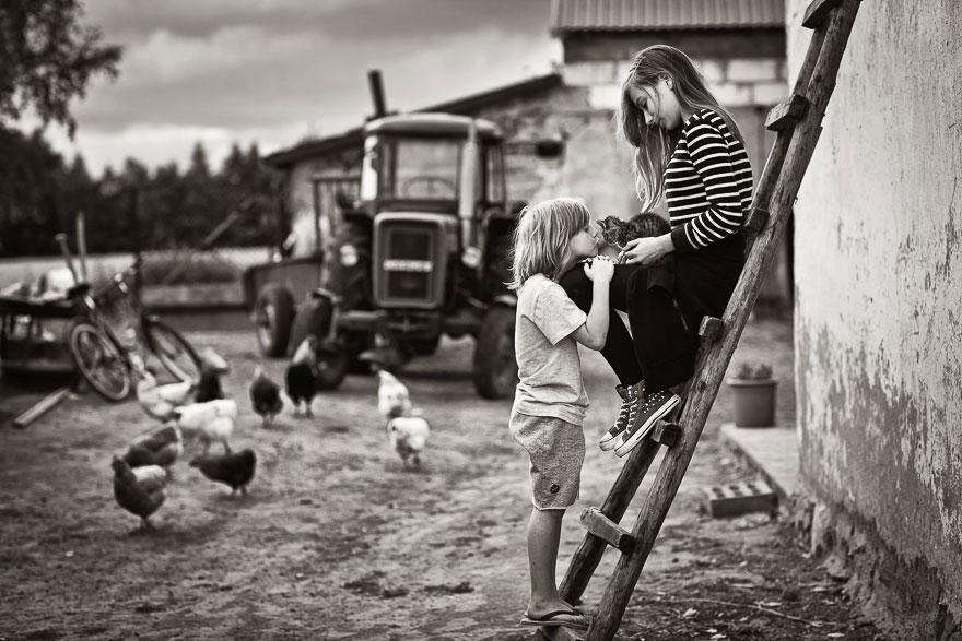 Летние каникулы в польской деревне - чёрно-белые фото-18