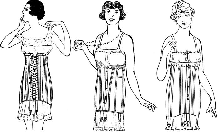 Парадоксально, но факт — в начале 1920-х, когда в моду вошли прямые линии, а талия перекочевала на бедра, корсеты по-прежнему были в ходу. Этим старомодным средством пользовались, чтобы сделать женскую фигуру... более мужской. Корсеты нового образца не поднимали, а стягивали грудь и убирали любой намек на талию. Впрочем, ими пользовались только фигуристые особы. Обладательницам плоской груди и слабовыраженной талии хватало пояса с резинками для чулок.